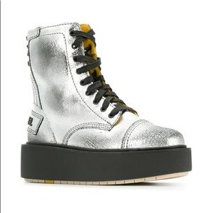 New Diesel D-Cage HD Silver Leather Boot 8.5